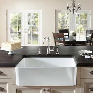 Large White Fireclay Apron Front 29.5-inch Farmhouse Kitchen Sink