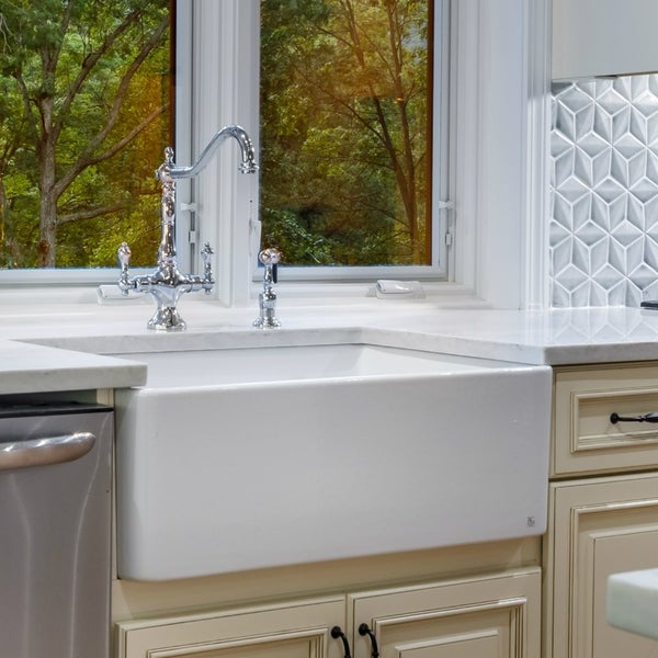 Large White Fireclay A Front 29 5 Inch Farmhouse Kitchen Sink