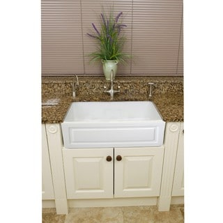 Fne Fixtures Fireclay French 29-inch White Farmhouse Kitchen Sink