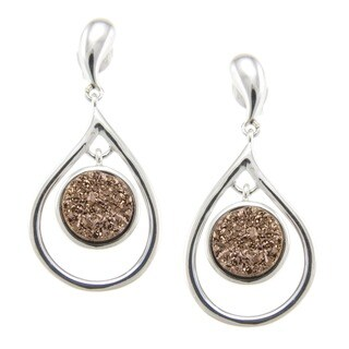 Pearlz Ocean Druzy Dangle Earrings Jewelry for Womens