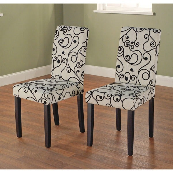 simple living parson cream and black rubber wood dining chairs set of
