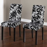 Simple Living Parson Black and Silver Rubber Wood Dining Chairs (Set of 2) - N/A