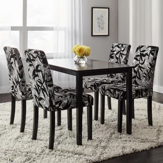 Black kitchen dining room sets for less overstock simple living parson black and silver 5 piece dining table and chairs set workwithnaturefo