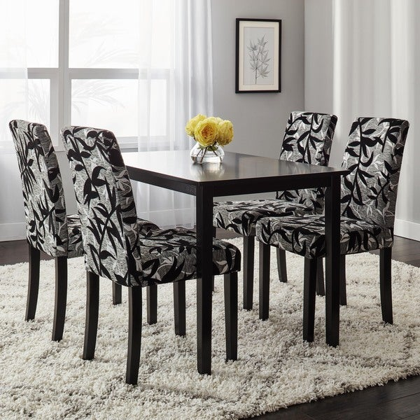 simple living parson black and silver 5 piece dining table and chairs set free shipping today. Black Bedroom Furniture Sets. Home Design Ideas