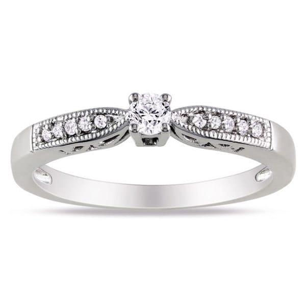 Miadora Sterling Silver 1/6ct TDW Round Diamond Ring (H-I, I2-I3)
