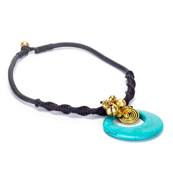 Goldtone Turquoise Bead Cord Necklace (Thailand)