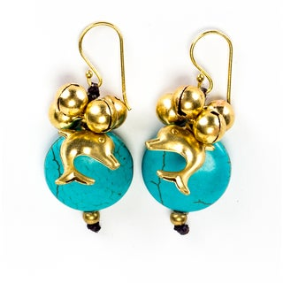 Goldtone Turqouise and Bead Dolphin Earrings (Thailand)