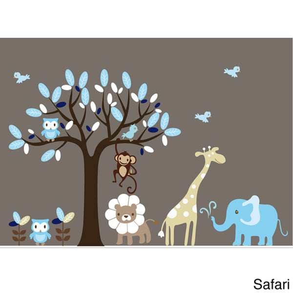 Nursery wall art boy 39 s safari animal tree wall decal set for Baby jungle safari wall mural