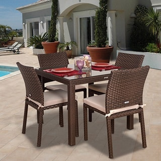 Atlantic Liberty Wicker 5 Piece Square Dining Set With Off White Cushions