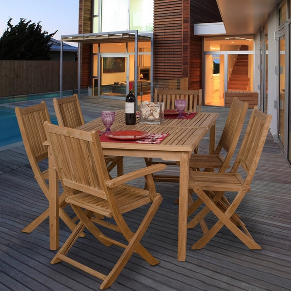 Outdoor Patio Furniture Savannah Ga: Shop Amazonia Augusta Teak 7-piece Rectangular Dining Set
