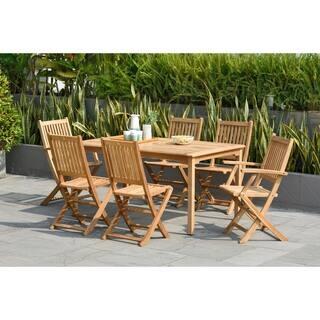 amazonia augusta teak 7 piece rectangular dining set - Teak Outdoor Dining Table