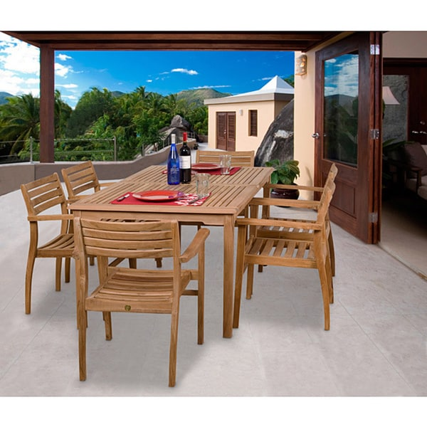 Outdoor Patio Furniture Savannah Ga: Shop Amazonia Teak Savannah 7-piece Teak Dining Set