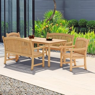 Amazonia Hartford 5-piece Teak Rectangular Dining Set