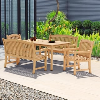 Amazonia Hartford 5 Piece Teak Rectangular Dining Set