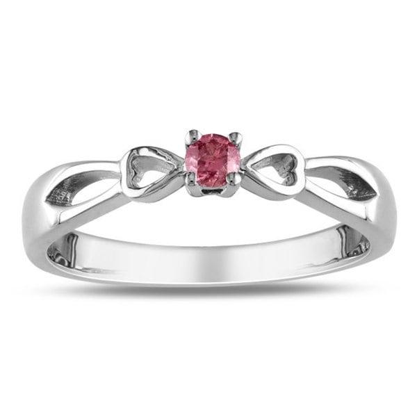 Miadora Sterling Silver 1/10ct TDW Pink Diamond Ring (I1-I2)