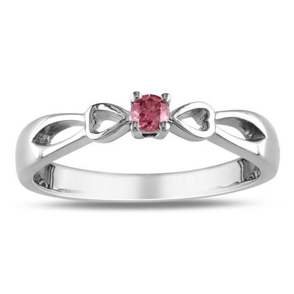 Miadora Sterling Silver 1/10ct TDW Pink Diamond Ring