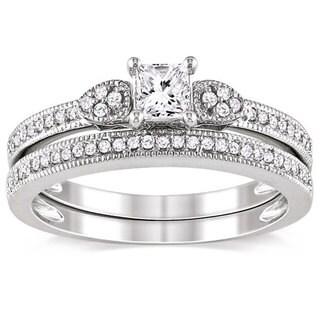 Miadora 10k White Gold 1/2ct TDW Diamond Ring Set