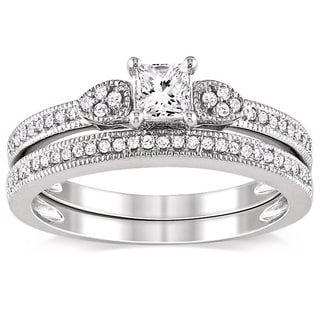 Miadora 10k White Gold 1/2ct TDW Diamond Ring Set