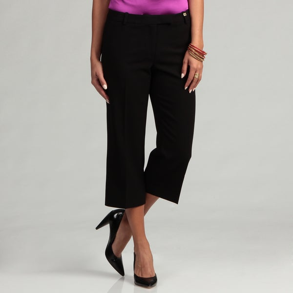 Calvin Klein Women's Black Cropped Madison Pants FINAL SALE