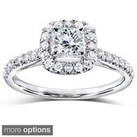 Annello by Kobelli 14k Gold 3/4ct TDW Princess and Round Halo Diamond Engagement Ring