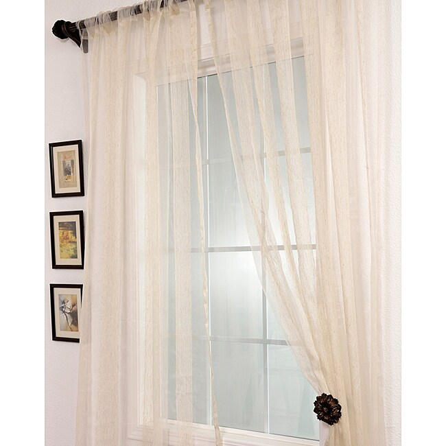 Exclusive Fabrics Signature Havannah Natural 108-inch Striped Linen and Voile Weaved Sheer Curtains
