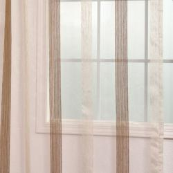Exclusive Fabrics Signature Havannah Cocoa 108-inch Striped Linen and Voile Weaved Sheer Curtain