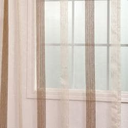 Exclusive Fabrics Signature Havannah Cocoa 108-inch Striped Linen and Voile Weaved Sheer Curtain - Thumbnail 1