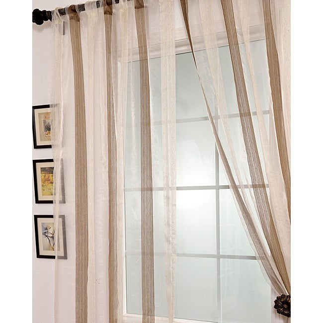 Exclusive Fabrics Signature Havannah Cocoa 108-inch Striped Linen and Voile Weaved Sheer Curtain - Thumbnail 0
