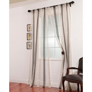 Exclusive Fabrics Signature Havannah Ash Striped Linen and Voile Weaved Sheer Curtain