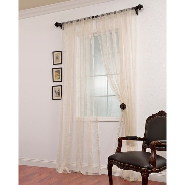 Exclusive Fabrics Signature Havannah Natural Striped Linen and Voile Weaved Sheer Curtain