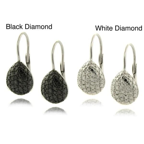 Finesque Sterling Silver Diamond Accent Teardrop Earrings
