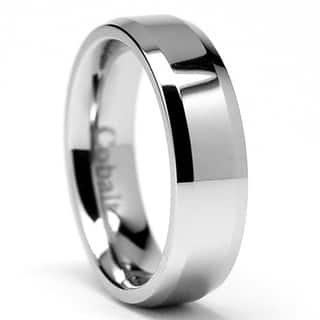 oliveti cobalt mens chrome comfort fit band - Overstock Wedding Rings