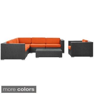 Corona Outdoor Patio Espresso 7-Piece Sectional Sofa Set