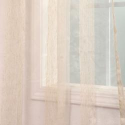 Exclusive Fabrics Signature Havannah Natural 84-inch Striped Linen and Voile Weaved Sheer Curtain - Thumbnail 1