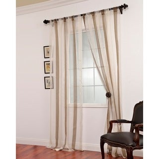 Exclusive Fabrics Signature Havannah Cocoa Striped Linen and Voile Weaved Sheer Curtain