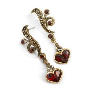 Sweet Romance Garnet Red Heart Retro Earrings