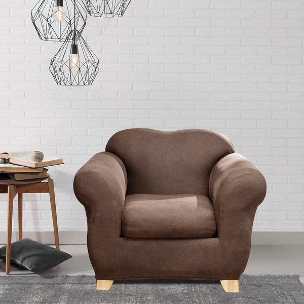 Sure Fit Stretch Leather 2 Piece Chair Slipcover