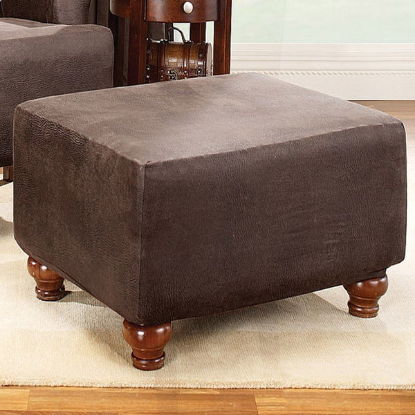Shop Sure Fit Brown Stretch Ottoman Slipcover