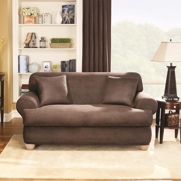 Sure Fit Stretch T-Cushion 2-piece Loveseat Slipcover