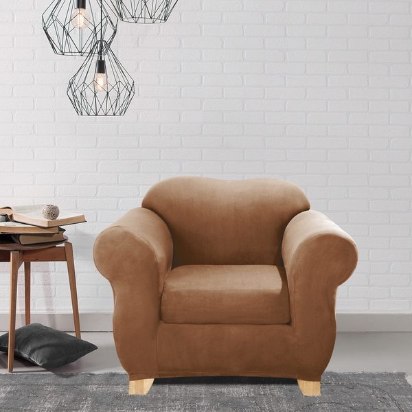 Sure Fit Brown Stretch T-Cushion 2-piece Chair Slipcover