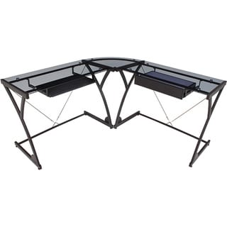 Regency Modern Smoked Glass Computer L-shaped Desk