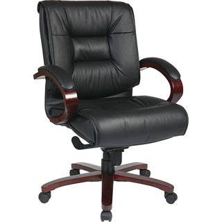 Deluxe Mid-Back Black Executive Leather Chair with Mahogany Finish