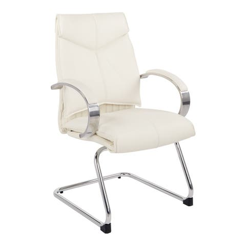 Office Star Deluxe Mid Back Visitors Chair with Sled Base and Padded Arms