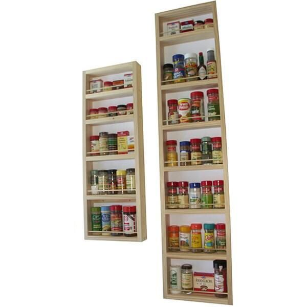 Solid Pine Wood Wall and Door Spice Racks (Set of 2)