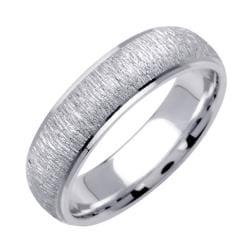 14k White Gold Men's Brushed Wedding Band - Thumbnail 1