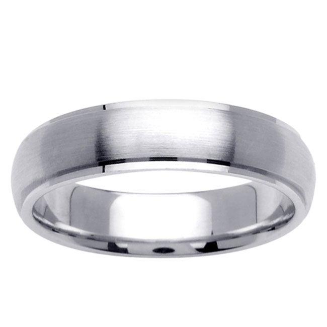 14k White Gold Men's Fancy Wedding Band - Thumbnail 0
