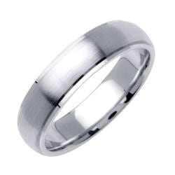 14k White Gold Men's Fancy Wedding Band - Thumbnail 1