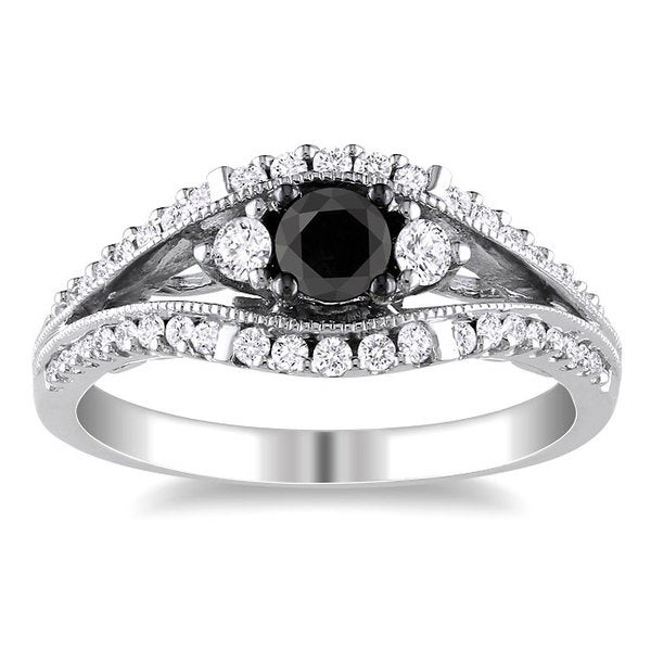 Miadora 10k White Gold 3/4ct TDW Black and White Diamond Ring