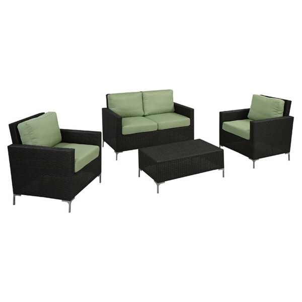 Handy living napa springs bamboo green 4 piece indoor outdoor wicker furniture set free Angelo home patio furniture