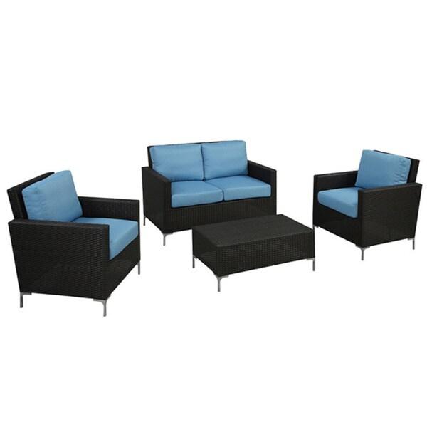 angelo:HOME Napa Springs Ocean Blue 4 Piece Indoor/Outdoor Wicker Furniture Set